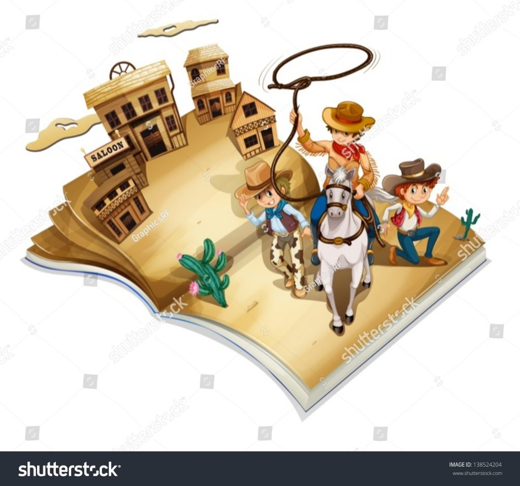 stock-vector-illustration-of-a-book-with-an-image-of-three-cowboys-on-a-white-background-138524204