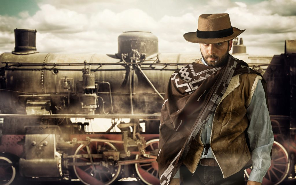 Gunfighter of the wild west at the train station.